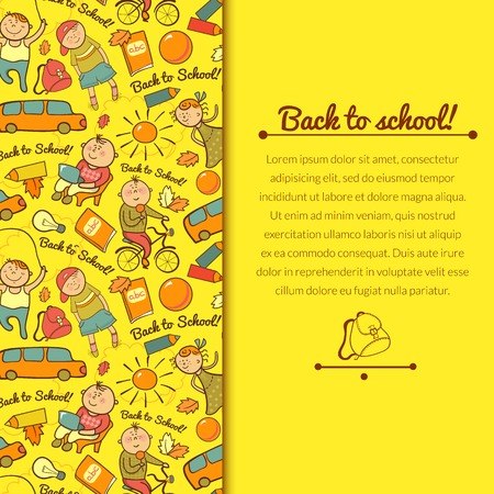 Vector cheerful background with children, back to school, with vertically space for text Vector