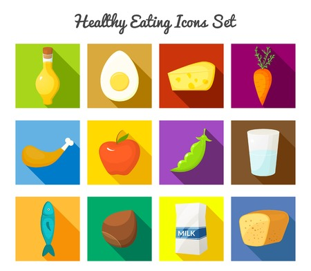 Healthy eating vector rectangular icons with long drop shadows set in flat style