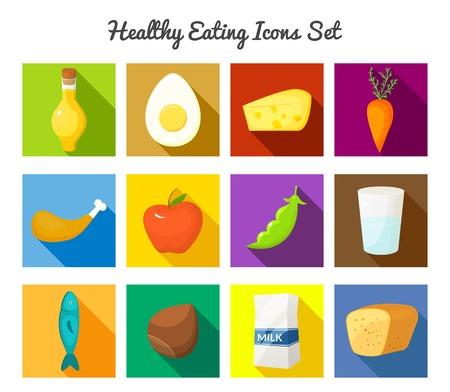 Icônes rectangulaires vecteur de manger sain avec de longues ombres portées définies dans le style plat