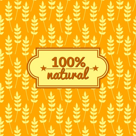 Seamless pattern with ears of wheat and label with text , vector simple illustration Vector