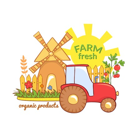 Farm Fresh vector illustration with rural landscape, label with agriculture elements in cartoon style Vector