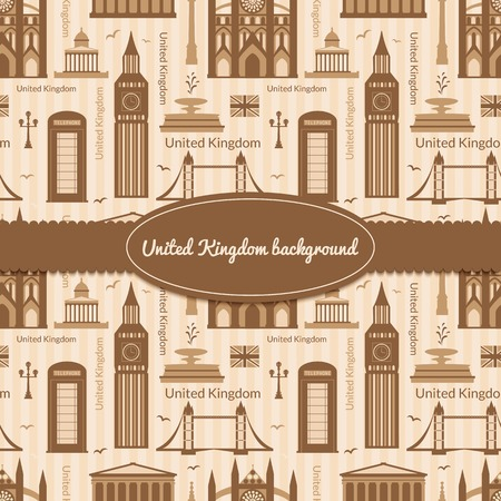 Landmarks of United Kingdom, vector colorful background with space for text and flat geometric objects Vector