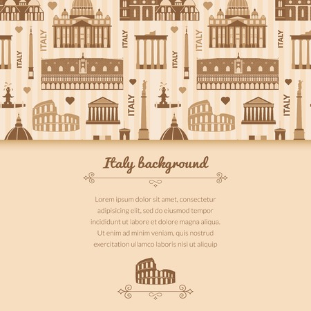 Landmarks of Italy, vector colorful background with horizontal space for text and flat geometric objects Vector