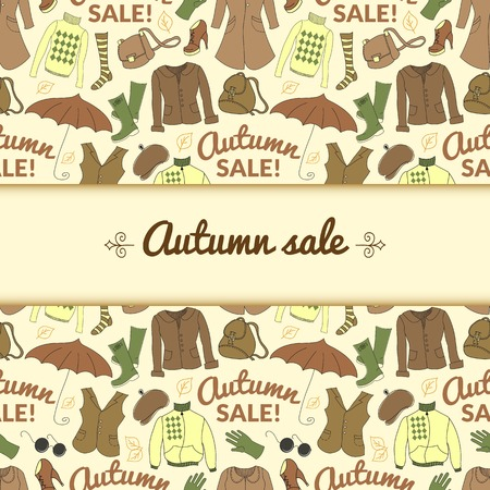 Autumn sale background with season women clothes. Vector retro backdrop in doodle style with central space for text Vector