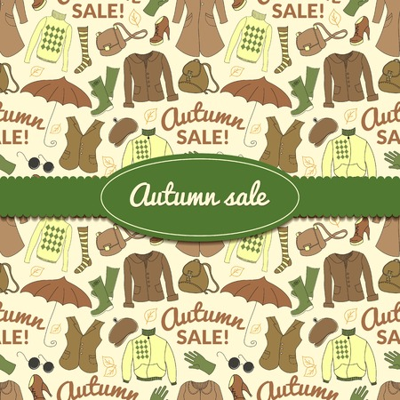 spring coat: Autumn sale background with season women clothes. Vector retro backdrop in doodle style with ribbon and label with space for text