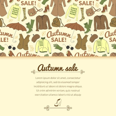 Autumn sale background with season women clothes. Vector retro backdrop in doodle style with horizontally space for text Vector