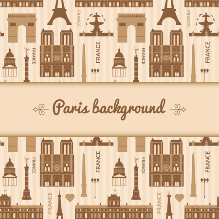 Landmarks of France, vector background with central space for text and flat geometric objects Vector