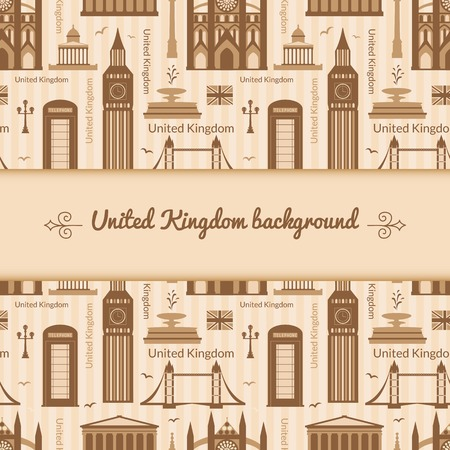 Landmarks of United Kingdom, vector background with central space for text and flat geometric objects Vector