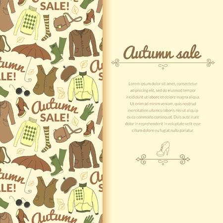 Autumn sale background with season women clothes. Vector retro backdrop in doodle style with vertically space for text Vector