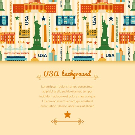 manhattan bridge: Landmarks of United States of America vector colorful background with horizontally space for text