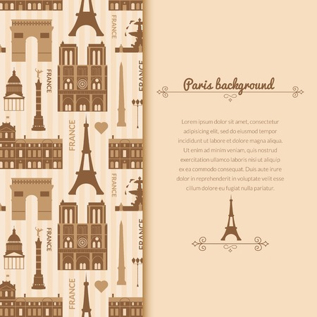 Landmarks of France, vector background with vertical space for text and flat geometric objects Vector