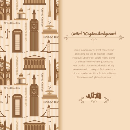 Landmarks of United Kingdom, vector background with vertical space for text and flat geometric objects Vector