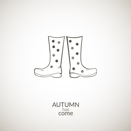 gumboots: Autumn gumboots vector icon, contour minimalistic illustration, autumn has come