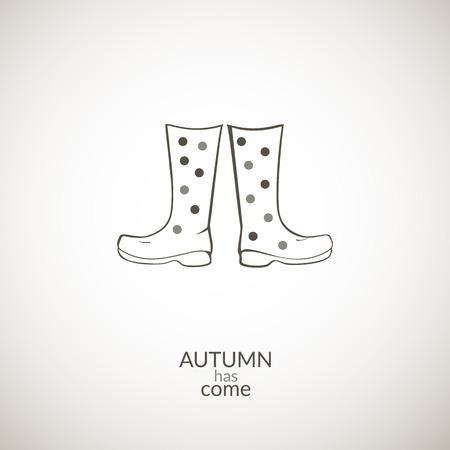 stiker: Autumn gumboots vector icon, contour minimalistic illustration, autumn has come