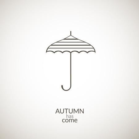 has: Umbrella vector icon, contour minimalistic illustration, autumn has come