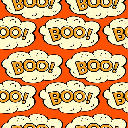 boo: Cloud with inscription Boo, vector seamless pattern in comics style Illustration