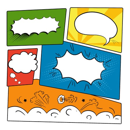 Set of graphic comics speech bubbles, vector templates clouds for text on strip background vector Vettoriali