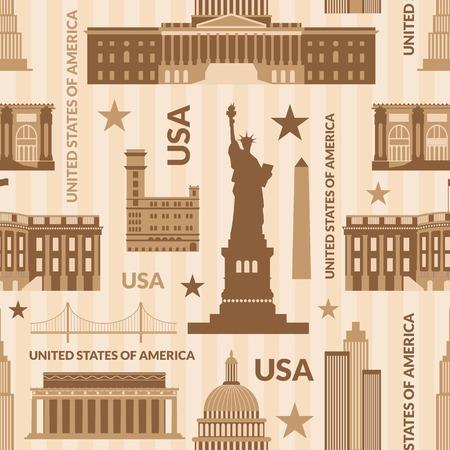 saemless: Landmarks of United States of America vector monochrome seamless pattern Illustration