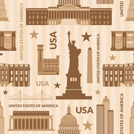 Landmarks of United States of America vector monochrome seamless pattern Illustration