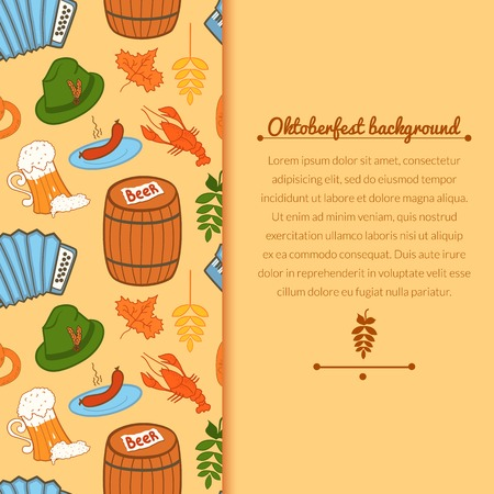 Oktoberfest celebration vector background with attributes of festival and vertically space for text in doodle style Vector