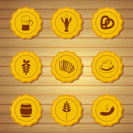 bottle cap: Vector icons of gold beer caps with symbols attributes Oktoberfest in retro style on light wooden background