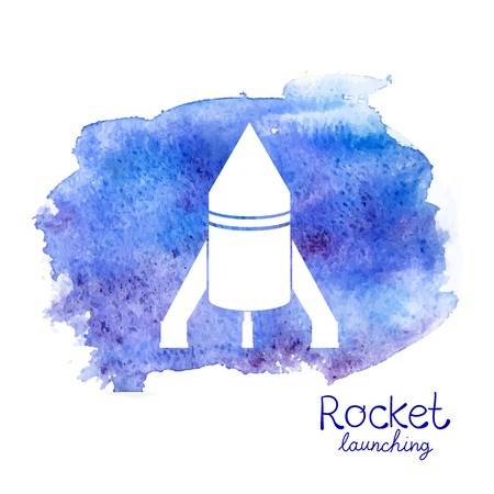 Vector white rocket icon set on watercolor space background Vector
