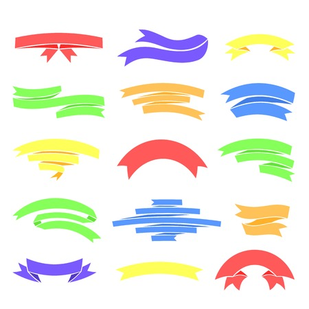 Vector colorful ribons set, isolaten on background, illustration in flat style Vector