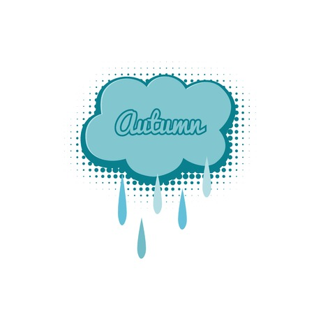stiker: Cloud with raindrops, autumn vector illustration in comic style