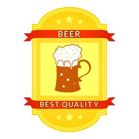 Retro vector beer label isolated white background Vector