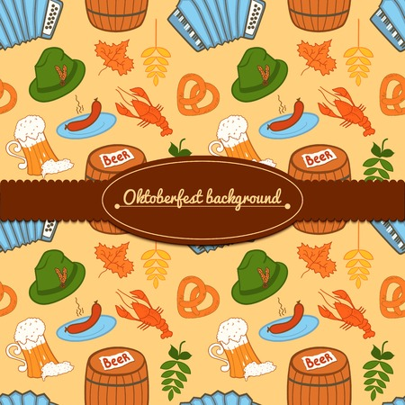 Oktoberfest celebration vector background with attributes of festival and ribbon and lable for text Vector