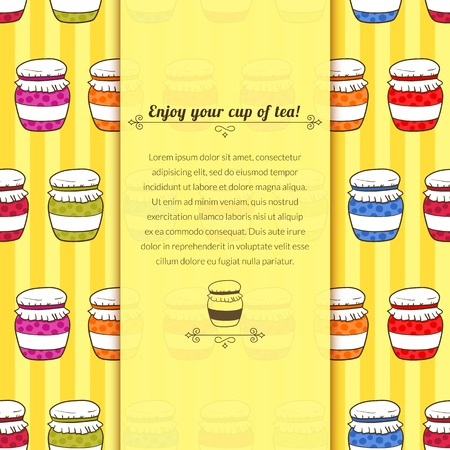 Vector colorful background jars with jam in doodle style with space for text Illustration