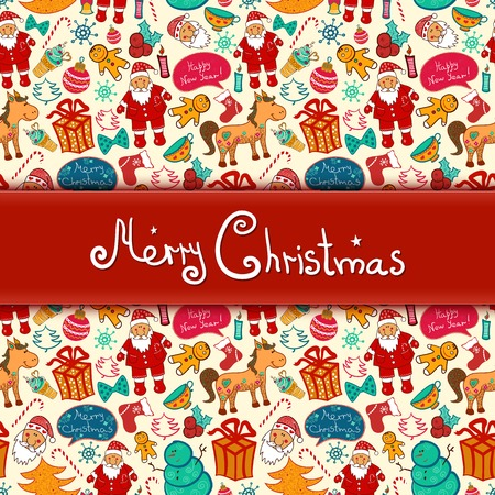 Christmas vector seamless pattern with colorful doodle elements and central space for text Vector