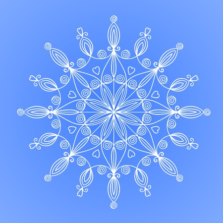 Beautiful complex patterned large snowflake, vector illustration isolated Vector