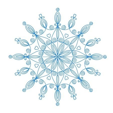 Beautiful complex large snowflake, vector illustration isolated on white background Vector