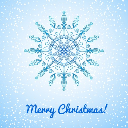 Beautiful complex large snowflake, Christmas vector illustration on background falling snow Vector