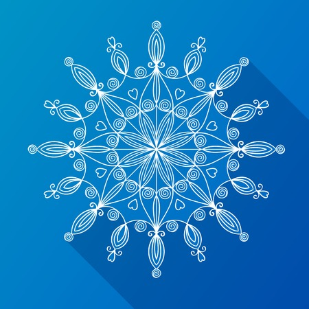 Beautiful complex large snowflake with long drop shadow, vector illustration in flat style Vector