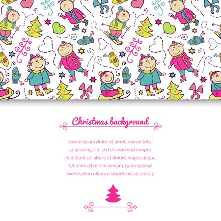 recreation: Christmas background with doodle funny children and horizontally space for text, winter recreation