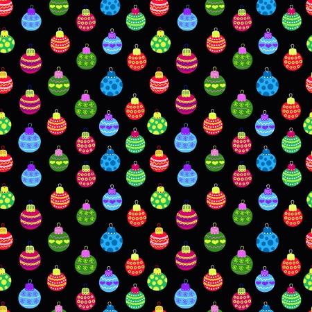 wallpapper: Decorazioni natalizie palle seamless, sfondo scuro Vettoriali