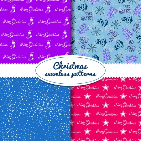 Simple Christmas vector seamless paterns with decorative ribbon Vector