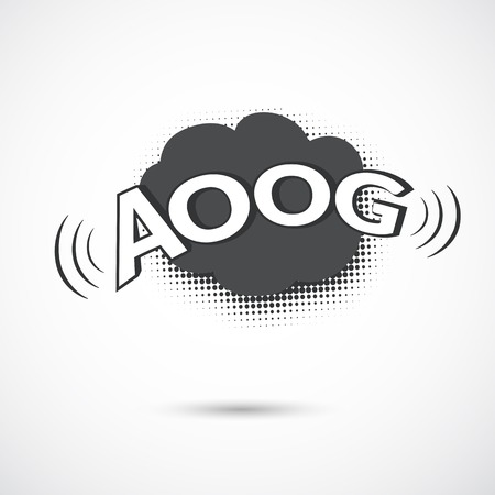 Comic bubbles vector isolated black and white illustration, alarm sound
