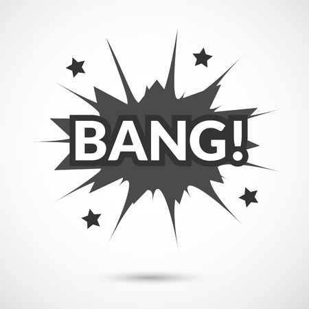 sounds: Comic bubbles vector isolated black and white illustration, gun mechanical sounds