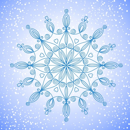 Beautiful complex large snowflake, vector illustration on background falling snow Vector