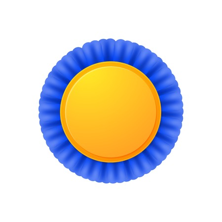 Vector medal, realistic golden label with blue ribbons Vector