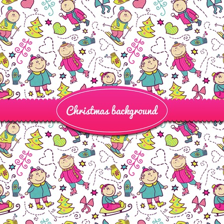Christmas background with doodle funny children and ribbon and label, winter recreation Vector