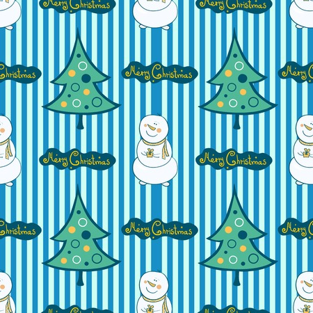Christmas seamless pattern with snowman and tree Vector