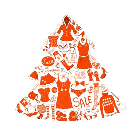 white clothes: Christmas red and white clothes set, vector illustration Illustration