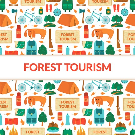 Camping equipment, forest tourism, vector colorful  background in flat style with space for text Vector