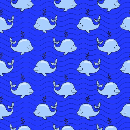 ocean background: Vector seamless pattern with whale on blue ocean background in doodle style Illustration