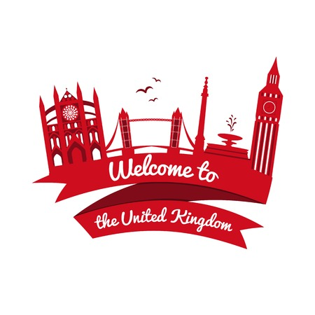 Vector logo landmarks of United Kingdom with ribbon and welcome message Stock Vector - 33746949