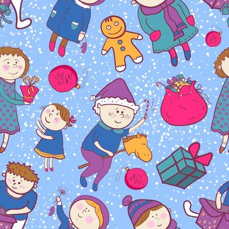 Childish christmas vector seamless pattern in cartoon style Vector